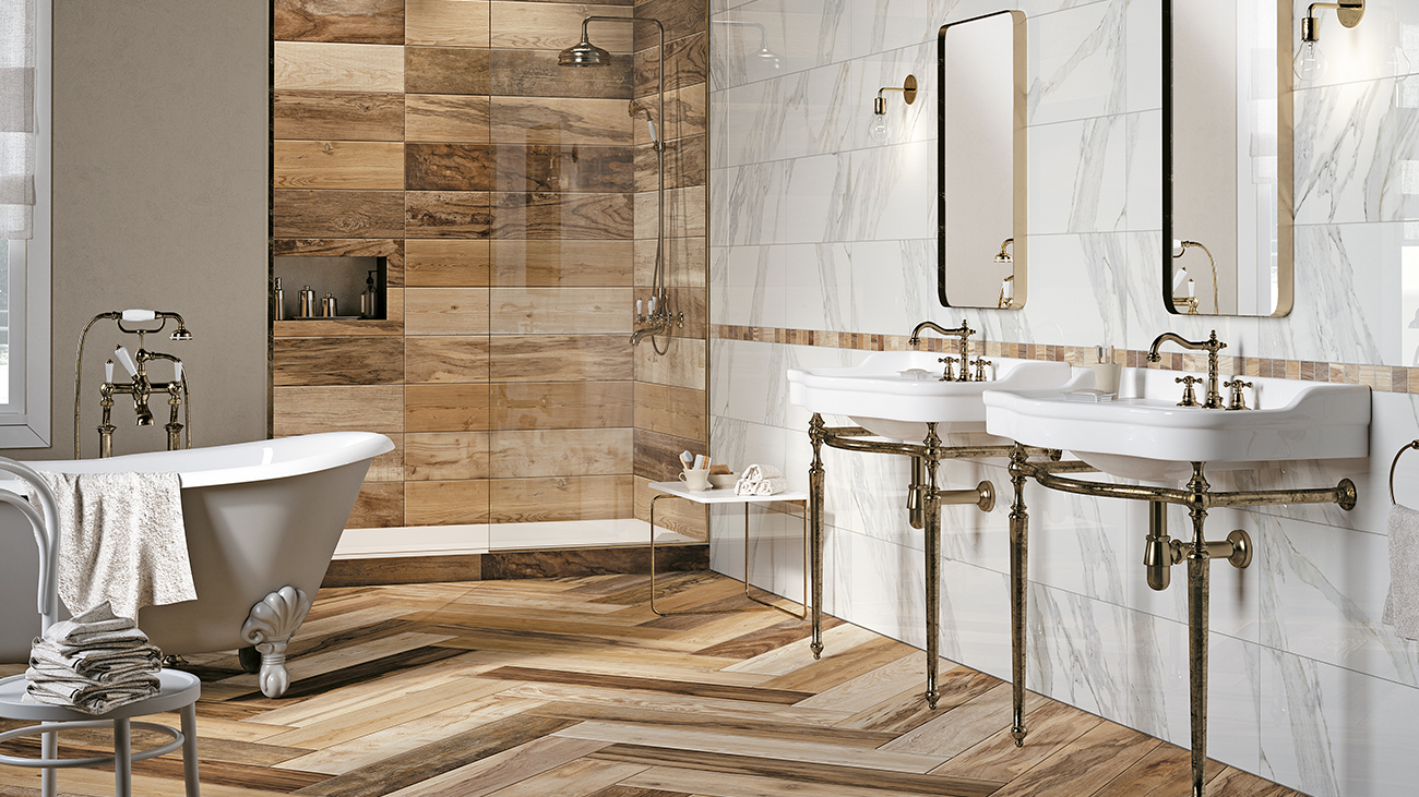 Choosing wood-look porcelain tiles as a new option for bathroom