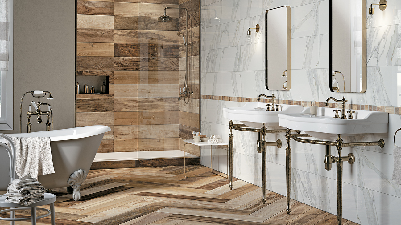 bathroom wood floor tile walls mirage means warm atmosphere mirage usa 22602